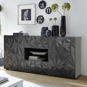 Arlon Sideboard In Grey High Gloss With 2 Doors With LED