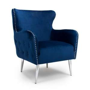 Armada Armchair In Brushed Velvet Ocean Blue With Chrome Legs