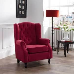 Arran Fabric Lounge Chair In Red With Wooden Legs