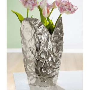 Arrugada Aluminium Decorative Vase In Silver