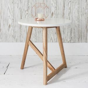 Artisan Side Table In Semi Gloss White With Mindy Ash Legs