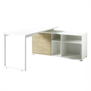 Artur Corner Computer Desk In White Kendal Oak And Metal