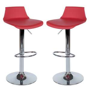 Arturo Bar Stools In Red ABS With Chrome Base In A Pair