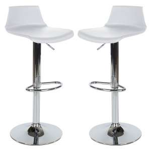 Arturo Bar Stools In White ABS With Chrome Base In A Pair