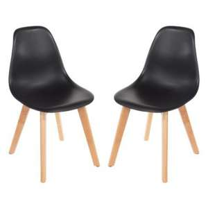 Arturo Black Bistro Chair In Pair With Wooden Legs