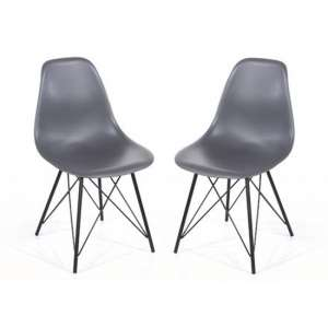 Arturo Charcoal Bistro Chair In Pair With Black Metal Legs