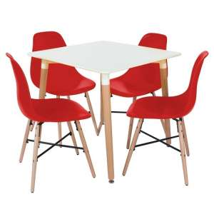 Arturo Bistro Table Square In White With 4 Red Chairs