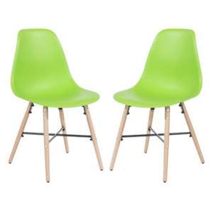 Arturo Green Bistro Chair In Pair With Oak Wooden Legs