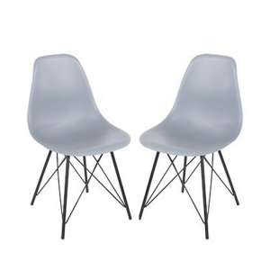 Arturo Grey Bistro Chair In Pair With Black Metal Legs