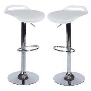 Arturo Padded Bar Stools In White With Chrome Base In A Pair