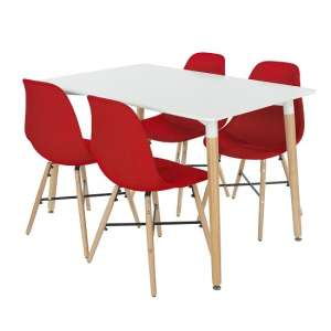 Arturo Dining Table Rectangular In White With 4 Red Chairs
