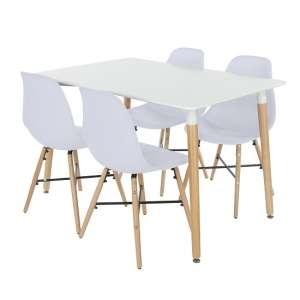 Arturo Rectangular Dining Table Set In White With 4 Chairs