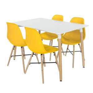 Arturo Dining Table Rectangular In White With 4 Yellow Chairs