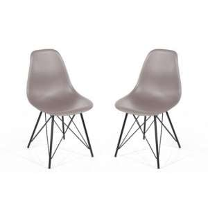 Arturo Truffle Bistro Chair In Pair With Black Metal Legs