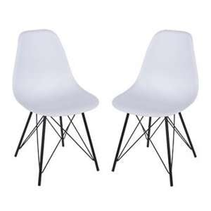 Arturo White Bistro Chair In Pair With Black Metal Legs