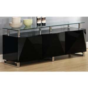 Aruba Glass Top Sideboard In Black High Gloss With 3 Doors