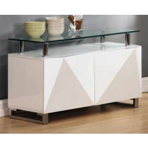 Aruba Glass Top Sideboard In White High Gloss With 2 Doors