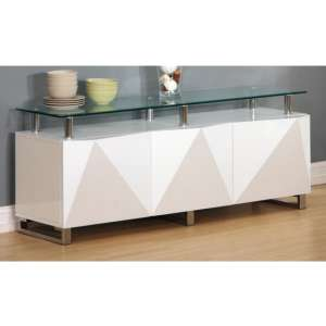 Aruba Glass Top Sideboard In White High Gloss With 3 Doors
