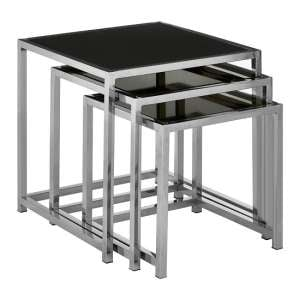 Aruan Black Glass Nest Of Tables With Stainless Steel Frame