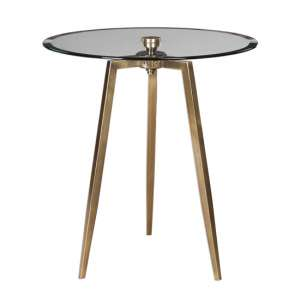 Arwen Glass Side Table With Antique Brass Stainless Steel Legs
