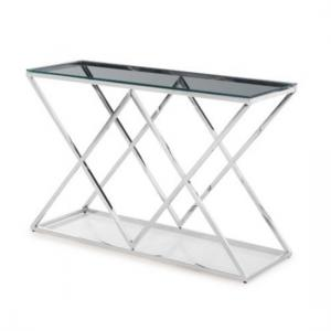 Ascot Glass Console Table In Clear With Polished Steel Frame