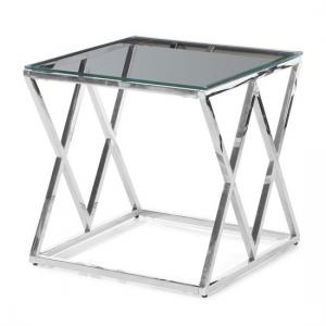 Ascot Glass Side Table In Clear With Polished Steel Frame