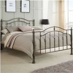 Ashley Metal Small Double Bed In Black Nickel