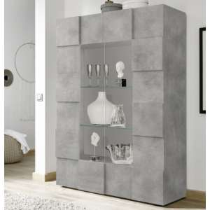 Aspen Wooden Display Cabinet In Concrete With 2 Doors