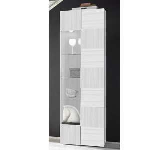 Aspen Wooden Display Cabinet In Matt White With 1 Door