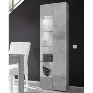 Aspen Wooden LED Display Cabinet In Concrete With 1 Door