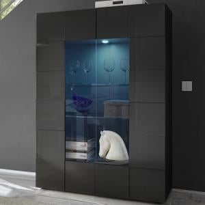 Aspen Modern Display Cabinet In Grey High Gloss With LED