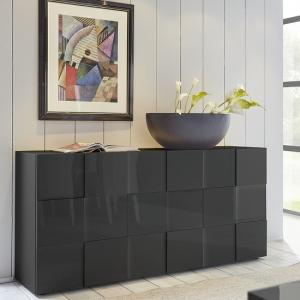 Aspen Modern Sideboard In Grey High Gloss With 3 Doors