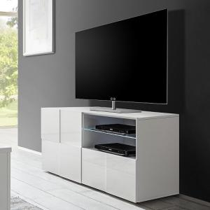 Aspen Contemporary TV Stand In White High Gloss With LED