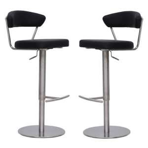 Astley Bar Stools In Black Faux Leather In A Pair