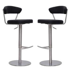 Astley Bar Stools In Grey Faux Leather In A Pair