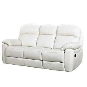 Astona Leather 3 Seater Fixed Sofa In Ivory
