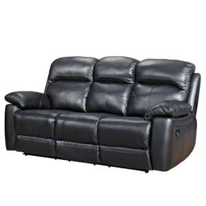 Astona Leather 3 Seater Recliner Sofa In Black