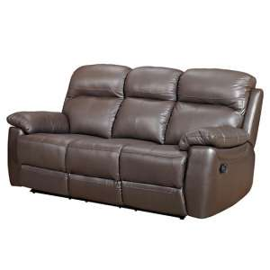 Astona Leather 3 Seater Recliner Sofa In Brown