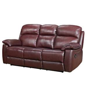 Astona Leather 3 Seater Recliner Sofa In Chestnut