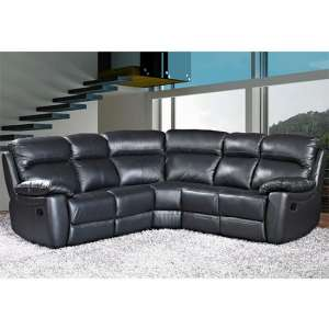 Astona Leather Corner Recliner Sofa In Black