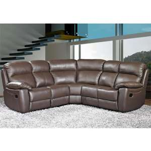 Astona Leather Corner Recliner Sofa In Brown