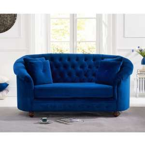 Astoria Chesterfield 2 Seater Sofa In Blue Plush Fabric