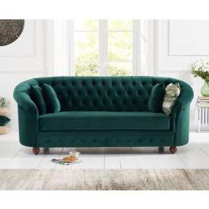 Astoria Chesterfield 3 Seater Sofa In Green Plush Fabric