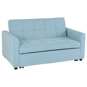 Astoria Fabric Sofa Bed In Light Blue With Plastic Feet