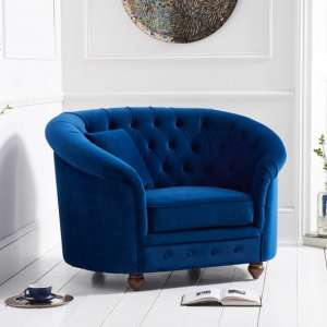 Astarik Sofa Chair In Blue Plush Fabric With Wooden Legs