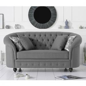 Astoria Chesterfield 2 Seater Sofa In Grey Linen Fabric