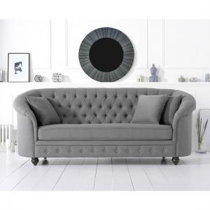 Astoria Chesterfield 3 Seater Sofa In Grey Linen Fabric