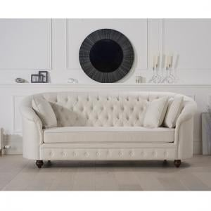 Astoria Chesterfield 3 Seater Sofa In Ivory Fabric