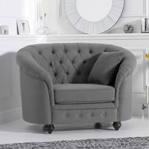 Astarik Sofa Chair In Grey Linen Fabric With Wooden Legs