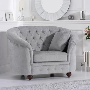 Astarik Chesterfield Sofa Chair In Grey Plush Fabric
